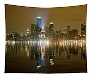 Chicago Skyline With Lindbergh Beacon On Palmolive Building Tapestry