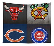 Chicago Sports Fan Recycled Vintage Illinois License Plate Art Bulls Blackhawks Bears And Cubs Tapestry