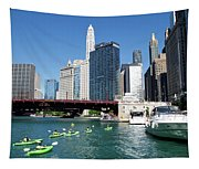 Chicago Watching The Kayaks On The River Tapestry