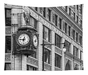 Chicago's Father Time Clock Bw Tapestry