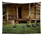 Chickens - Log House - Farm Tapestry