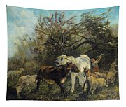 Child And Sheep In The Country Tapestry