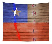 Chile Rustic Map On Wood Tapestry