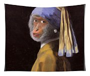 Chimp With A Pearl Earring Tapestry