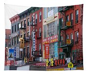 China Town Buildings Tapestry