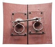 Chinese Red Door With Lock Tapestry