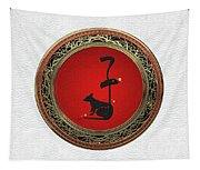 Chinese Zodiac - Year Of The Rat On White Leather Tapestry