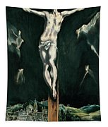 Christ Crucified With Toledo In The Background Tapestry