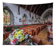 Christmas Church Flowers Tapestry
