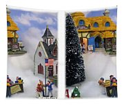 Christmas Display - Gently Cross Your Eyes And Focus On The Middle Image Tapestry