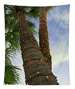 Christmas Lights On Palm Trees Tapestry