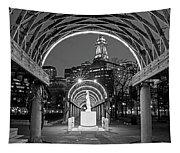 Christopher Columbus Park Boston Ma Trellis Statue Black And White Tapestry