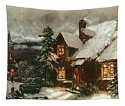 Church And Cottage With Lighted Windows Tapestry