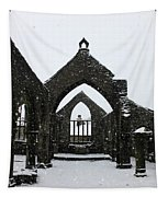 Church Of St Thomas A Becket In Heptonstall In Falling Snow Tapestry