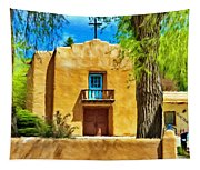 Church With Blue Door Tapestry