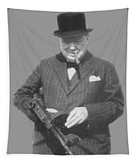 Churchill Posing With A Tommy Gun Tapestry