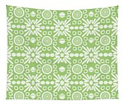 Cilantro- Green And White Art By Linda Woods Tapestry