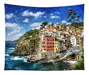 Cinque Terre - Riomaggiore From Above- Vintage Version Tapestry