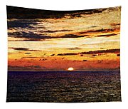 Cinque Terre - Sunset From Manarola - Panorama - Vintage Version Tapestry