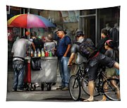 City - Ny Delancy St - Getting A Snowcone  Tapestry