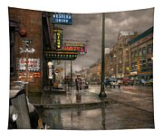City - Amsterdam Ny -  Call 666 For Taxi 1941 Tapestry