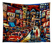 City At Night Downtown Montreal Tapestry