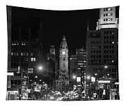 City Hall - Black And White At Night Tapestry