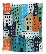 City Stories- Blue And Orange Tapestry