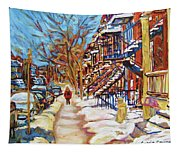 Cityscene In Winter Tapestry