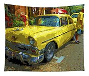 Classic 56 Chevy Car Yellow  Tapestry