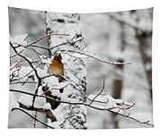 Classic Cardinal In Snow Tapestry