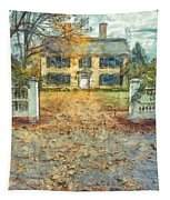 Classic Colonial Home In Autumn Pencil Tapestry