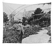 Claude Monet In His Garden Tapestry
