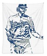 Clayton Kershaw Los Angeles Dodgers Pixel Art 10 Tapestry