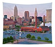 Cle Sunset View From The Shoreway Tapestry