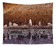 Cleveland Skyline Abstract 2 Tapestry