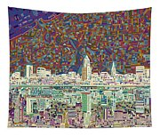 Cleveland Skyline Abstract 8 Tapestry