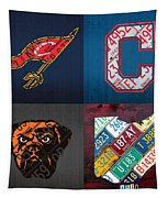 Cleveland Sports Fan Recycled Vintage Ohio License Plate Art Cavaliers Indians Browns And State Map Tapestry