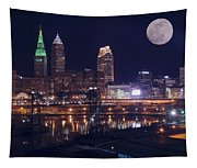 Cleveland With Full Moon Tapestry