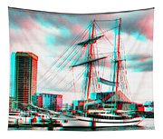 Clipper City - Use Red-cyan 3d Glasses Tapestry