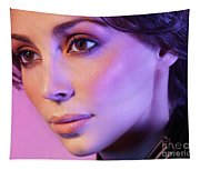 Closeup Beauty Portrait Of Woman Face In Colored Purple Light Tapestry