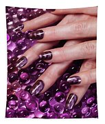 Closeup Of Woman Hands With Purple Nail Polish Tapestry