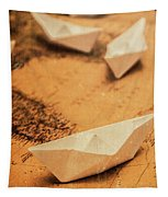 Closeup Toned Image Of Paper Boats On World Map Tapestry