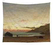 Coastal Scene With A Man And A Dog Tapestry