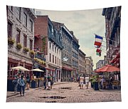Cobblestone Streets In Old Montreal  Tapestry