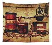 Coffee Bean Grinder Beside Old Pot Tapestry