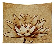 Coffee Painting Water Lilly Blooming Tapestry