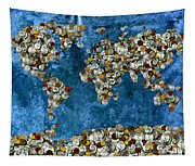 Coins World Map Tapestry