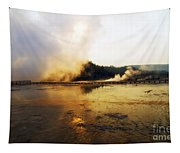 Cold Morning Sunrise At Grand Prismatic Spring Tapestry