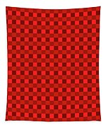 Color Dots On Red Drawing Abstract #7 Tapestry